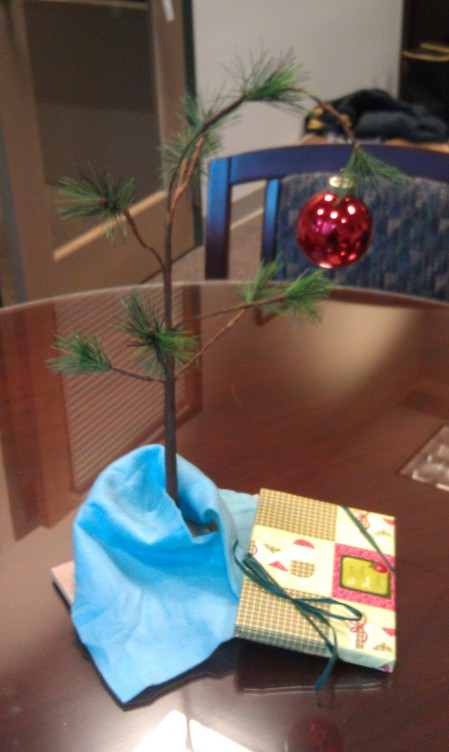 The Charlie Brown Tree in my bosses office