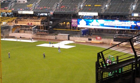 Left field under construction - no walls at all