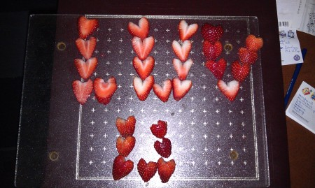 (Even the strawberries are in the heart shape-of-the-day)