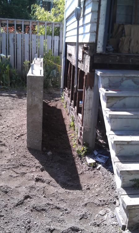 3 yds of concrete (part is now hidden underground)