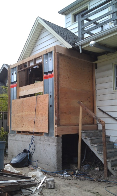 Back door replaced by plywood