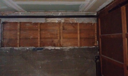 6-26-2013 Garage wall plaster removed - for earthquake retrofit