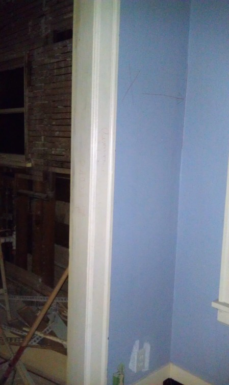 The side of the doorway that has not been touched yet - sort of a before look
