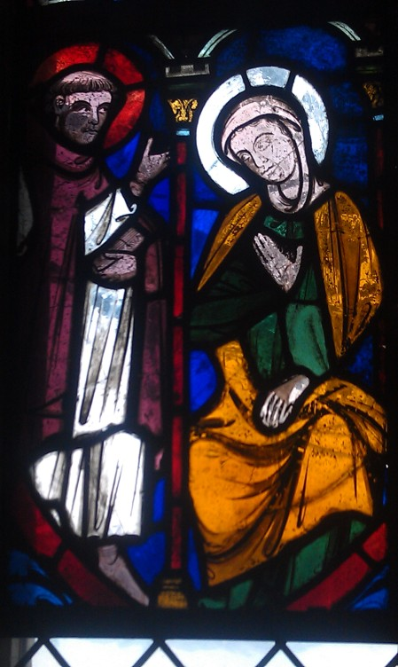 Cloisters - Annunciation in stained glass - Not the one I grew up viewing