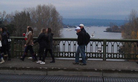 From the Montake Bridge, over the Montlake Cut. Boat parking to the right (starboard).