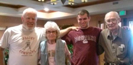 July 2014 Doris with Carl, Rey & Bob